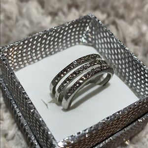 Sliver 3 bars diamond ring